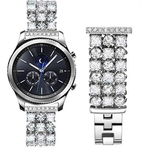 Luxurious Band Compatible with Gear S3 Frontier Classic Galaxy Watch 46mm Smart Watch, 22mm Handmade Bling Crystal Rhinestone Diamonds Bracelet Strap Replacement Band Samsung Gear S3 (S3 BD Silver)