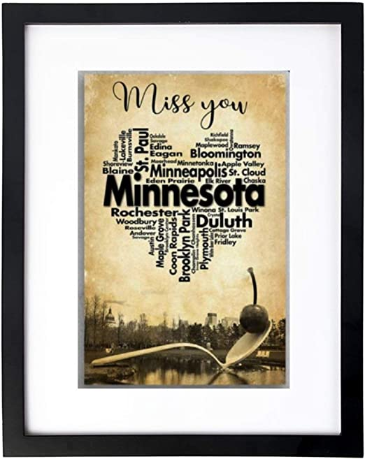 Art Print Wall Art,Miss You Minnesota America Minneapolis Frames with High Definition Glass,Home/Office Wall Art Decor Wooden Frames 8X12 Inches