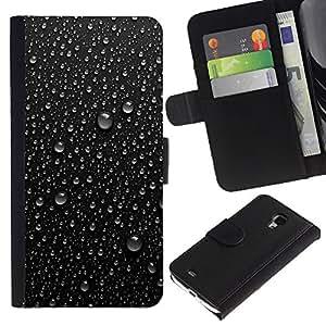 KLONGSHOP / Tirón de la caja Cartera de cuero con ranuras para tarjetas - Dew Rain Water Fresh Refreshing Black - Samsung Galaxy S4 Mini i9190 MINI VERSION!