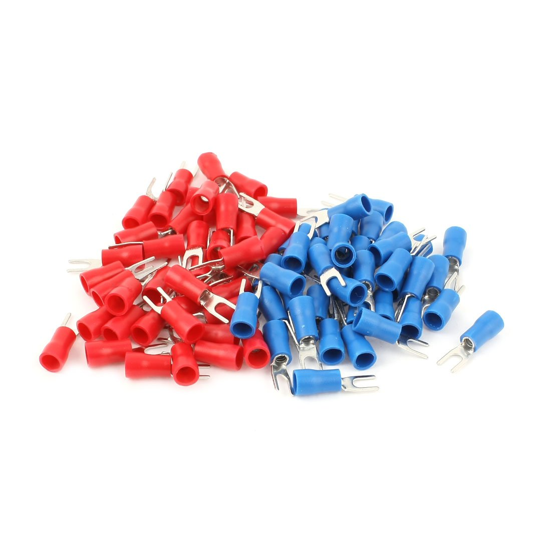 sourcingmap® 80pcs 16-14 AWG Red Blue Wire Connector Insulated Fork Terminal #4 a14120100ux0297