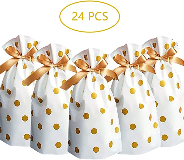 24pcs Treat Bags Party Favor Bags Gold Plastic Drawstring Gift Bags Candy Goodies Bags Food Storage Bags Gift Wrapping Package
