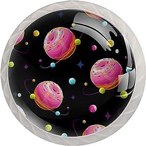 Crystal Glass Cabinet Knobs Drawer Knobs - ABS Handle I Premium Elegant Dresser Knobs Doughnut Planet Pink Sweet Dessert Home Office Bedroom Livingroom Bathroom 4 PCs