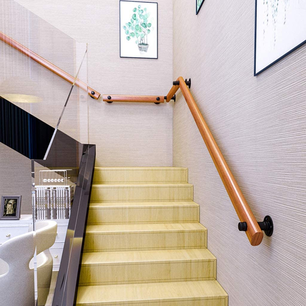 Handrail for Stair Indoor and Outdoor Use Wall Mounted Brackets Staircase Railing Banister Kit for Pool Garden Safety Rails,Round Wood