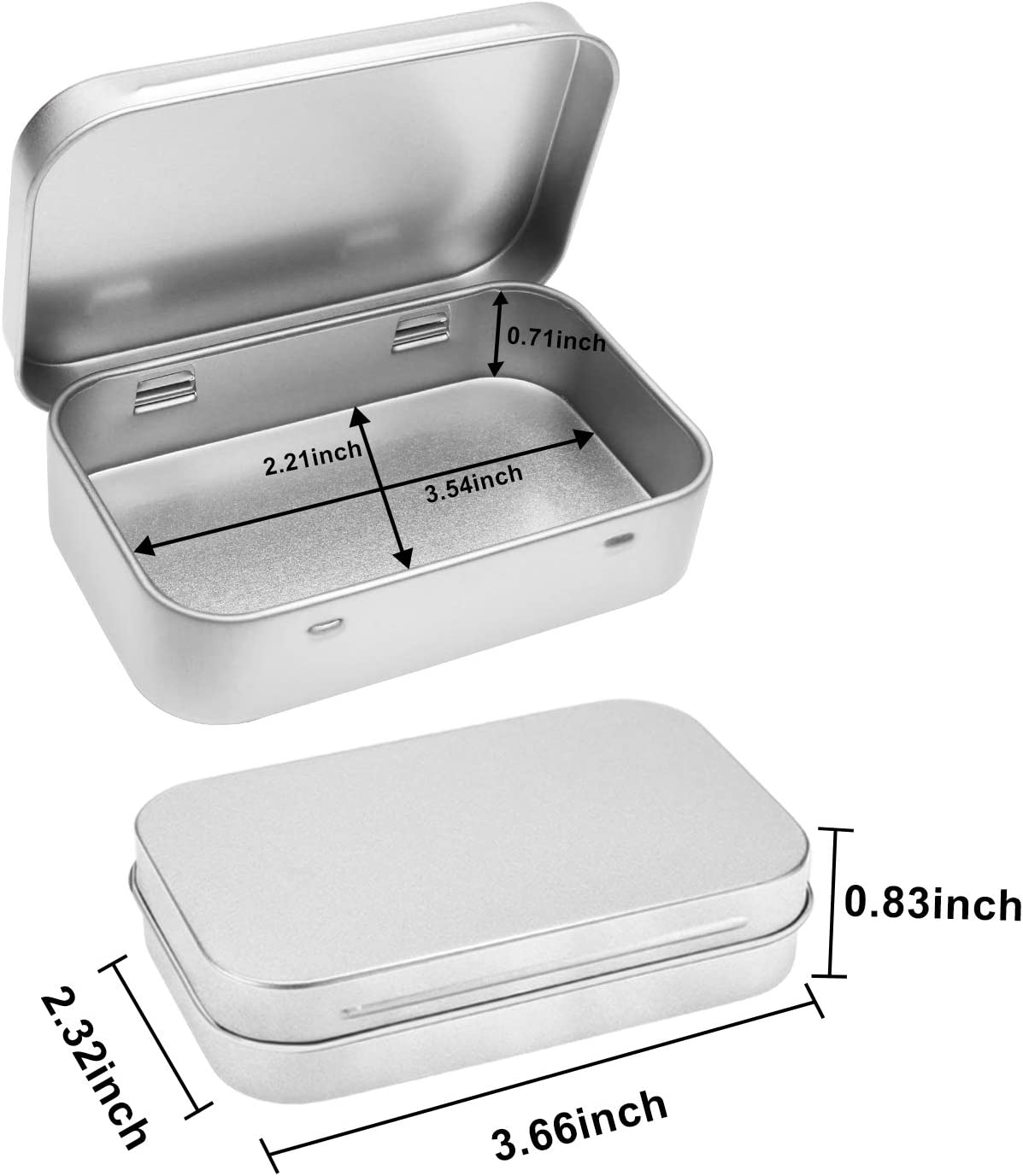 Aybloom Metal Rectangular Empty Hinged Tins 6 Pack Silver /& 6 Pack Black Mini Portable Box Containers Small Storage Kit /& Home Organizer