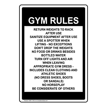 Amazon.com: compliancesigns Vertical Aluminio Gimnasio Rules ...