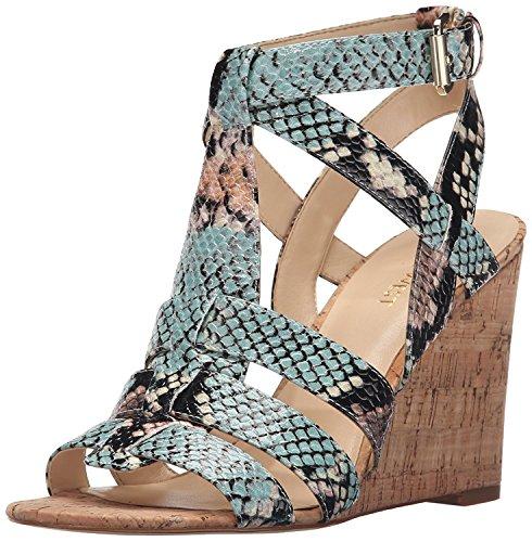 Nine West Women's Farfalla Synthetic Wedge Sandal, Light Natural Multi, 36.5 B(M) EU/4.5 B(M) UK