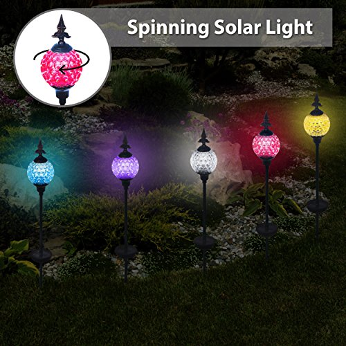 Solario Crackle Ball Solar Lights with Spinning Ball & Decorative Copper Top | Heavy Duty Stainless Steel Stakes | Color Changing Stake Lamps | Accent Lighting for Garden/ Yard/ Driveway - Stainless Lights Steel Top Solar