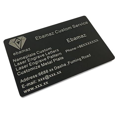 ebamaz metal business cards anodized aluminum plaque plate 86x54x08mm black10pcs - Metal Business Cards