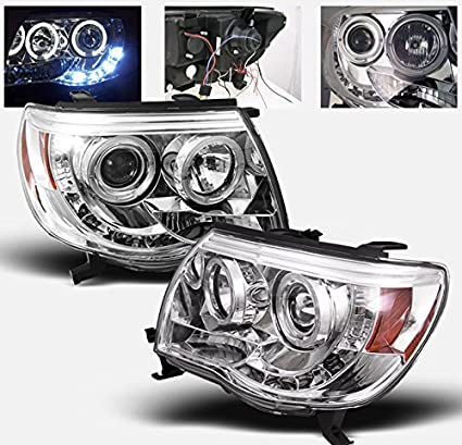 Amazon 2005 2011 toyota tacoma halo led projector headlights 2005 2011 toyota tacoma halo led projector headlights with 8000k hid conversion kit chrome publicscrutiny Image collections