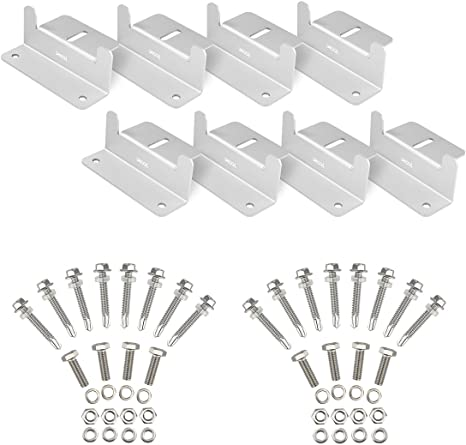 Xool 2 Sets Of Solar Panel Roof Mounting Z Bracket With Nuts And Bolts For Rv Boat Roof Wall And Other Off Gird Roof Installation Set Of 4 Units