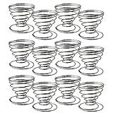 COM-FOUR Set of 12 Egg Cups Spiral Spiral, Eggshell Chromed (12 Parts - Spiral)
