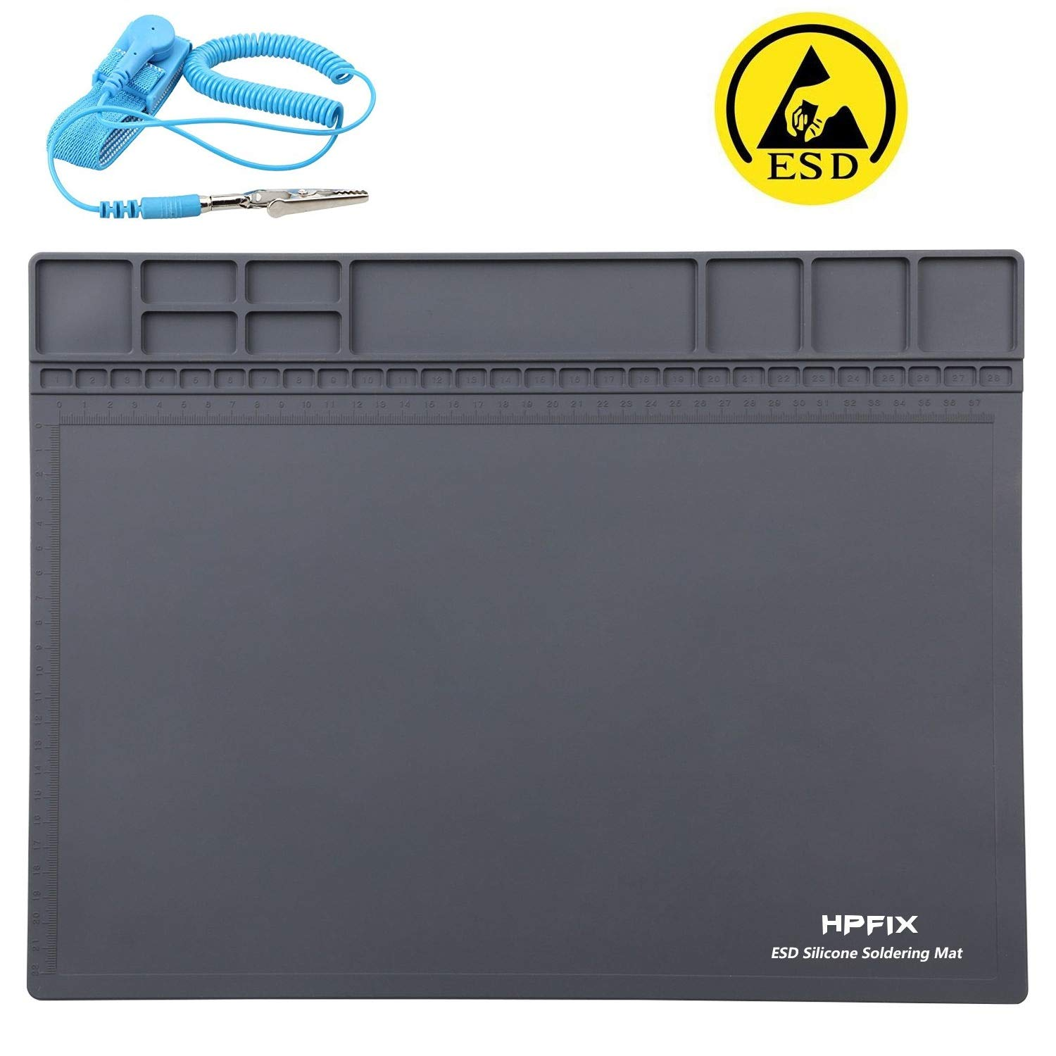 Anti-Static Mat ESD Safe for Electronic, HPFIX Silicone Soldering Heat Insulation Repair Mat for iPhone iPad iMac, Laptop, Computer, 932°F Heat Resistant 15.9'' x 12'' Grey (Contain Gift ESD Wristband) by HPFIX