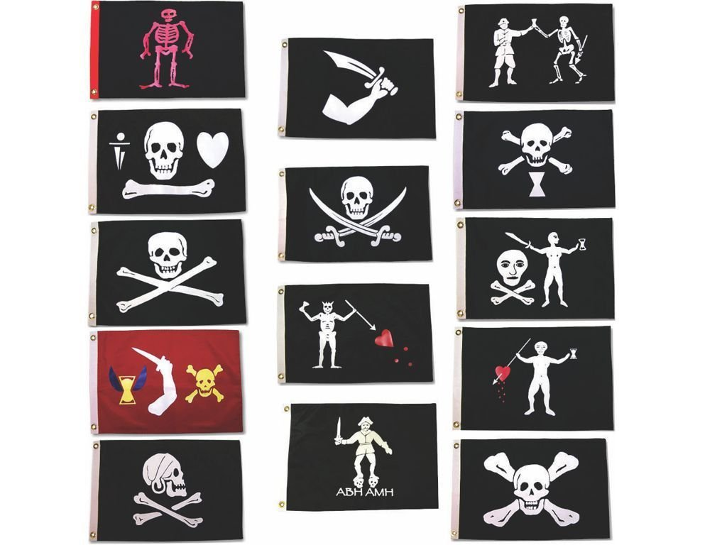 AES 3x5 Historic Jolly Roger Pirate Captains Package Flag 3'x5' Grommets (14 Flags) Fade Resistant Double Stitched Premium Penant House Banner Grommets