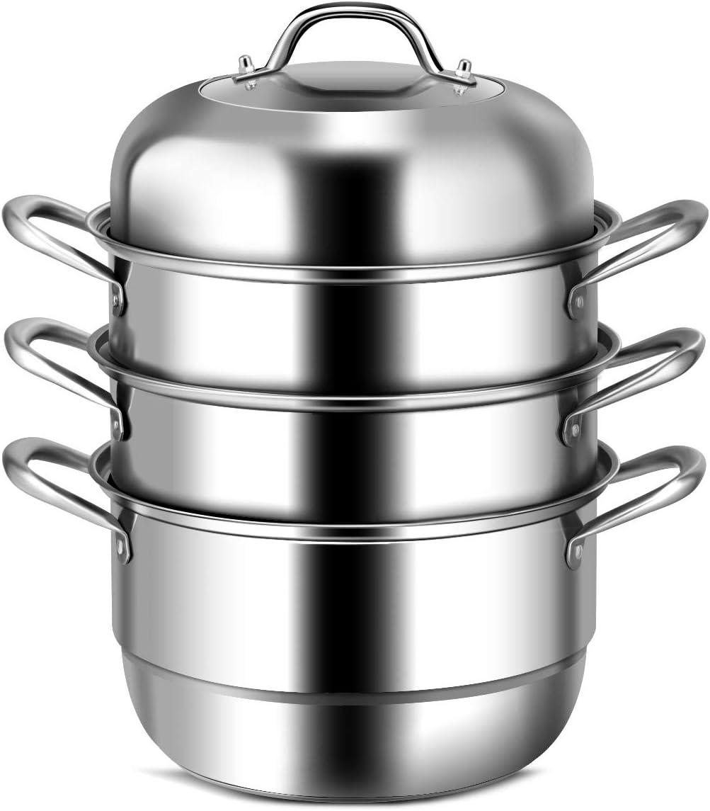 Olla de vapor olla de vapor de acero inoxidable de 3 niveles Olla de olla para todas las superficies de cocci/ón