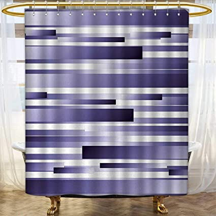 Anhounine Striped Shower Curtains Sets Bathroom Shades Of Purple Inspired Fragmentary New Artful Abstract Digital Pattern