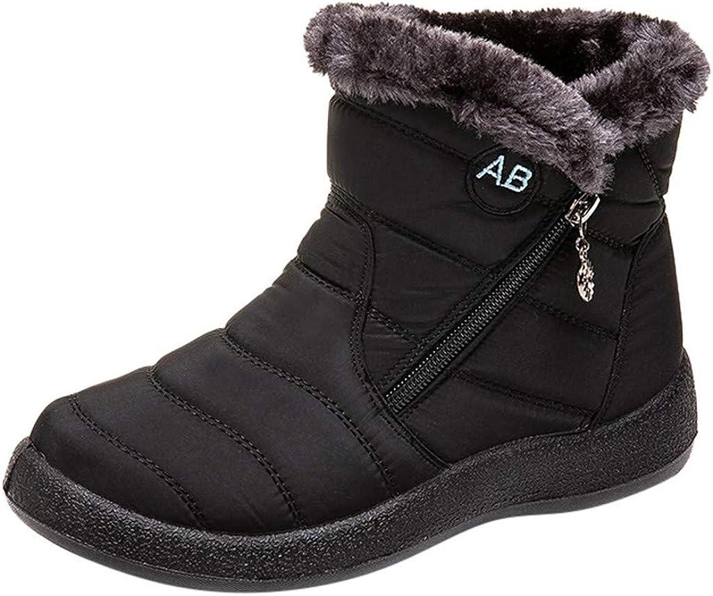 DreamedU Zapatos Invierno Mujer Botas de Nieve Casual Calzado Piel Forradas Calientes Planas Outdoor Boots Antideslizante Zapatillas 201019