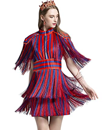 96f65a4708 Whoinshop Women s High Neck Short Sleeve Tassel Stripe Club Party Bodycon  Mini Dress Red XS