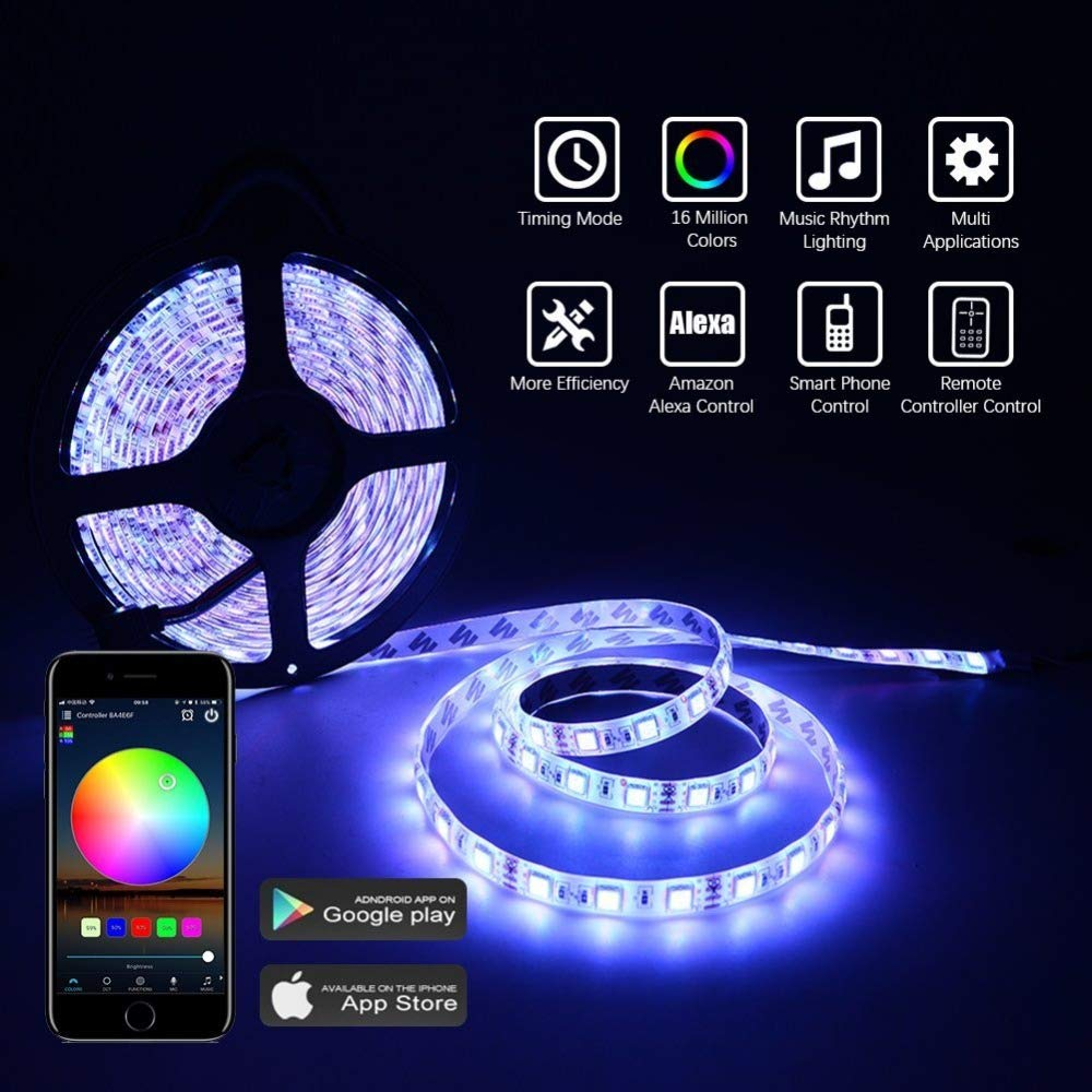 UPGRADED Dimmable LED Strip Lights Kit,32.8ft 300 LEDs SMD 5050 LED Tape Lights,2-Pack x 5M w//Extra Adhesive 3M Tape 44 Key Remote Controller,Flexible Changing Multi-Color for Bar Home Decoration