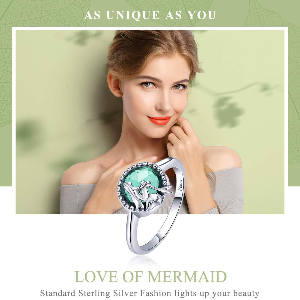 Green CZ The Kiss Ocean Legend Mermaid 925 Sterling Silver Ring