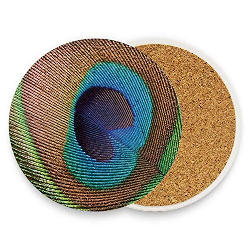 Asefcnxkjii Macro Size Peafowl Feather Plume Realistic Exotic Animal Themed Pattern Round Ceramic Coasters 1 Piece Circle Cup Coasters for Home Kitchen Office Desk