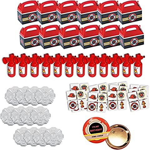 108 Piece Firefighter Party Favor Supplies Set Fire Birthday Favors for 12 fire heroes (Fire Chief Birthday)