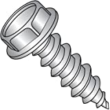 18-8 Stainless Steel Sheet Metal Screw Type AB 3//8 Length #10-16 Thread Size Pack of 50 Slotted Drive Plain Finish Serrated Hex Washer Head