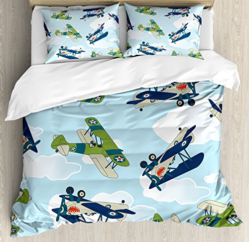 Airplane Decor Queen Size Duvet Cover Set by Ambesonne, Vintage Allied Plane Flying Pattern Cartoon Children Kids Repeating Toys shark Teeth, Decorative 3 Piece Bedding Set with 2 Pillow Shams
