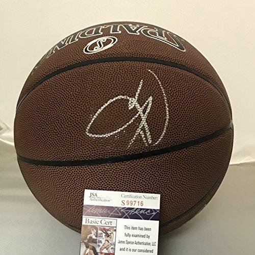 Autographed/Signed Carmelo Anthony Oklahoma City Thunder Spalding Full Size Basketball JSA COA (Basketball Autographed Spalding Mini)