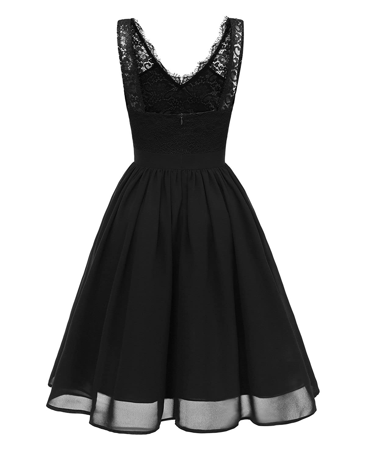 Caissen Womens Midi V-Neck Sleeveless Chiffon Lace Formal Gown A-Line Party Cocktail Dress