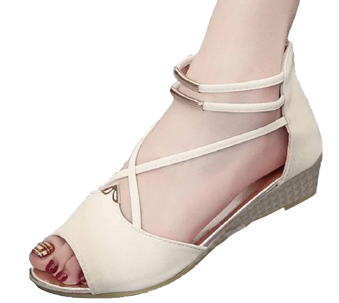 Hee grand Women Roman Style Open Toe Cross Strap Flat Sandals US 5 Beige