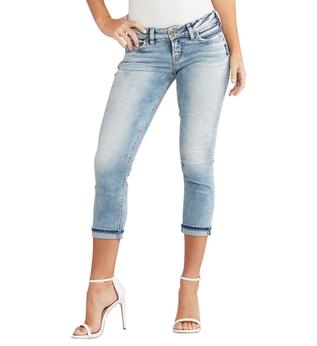 Silver Jeans Women's Berkley Sorta Straight-Fit Low-Rise Capri, Light Wash, 29