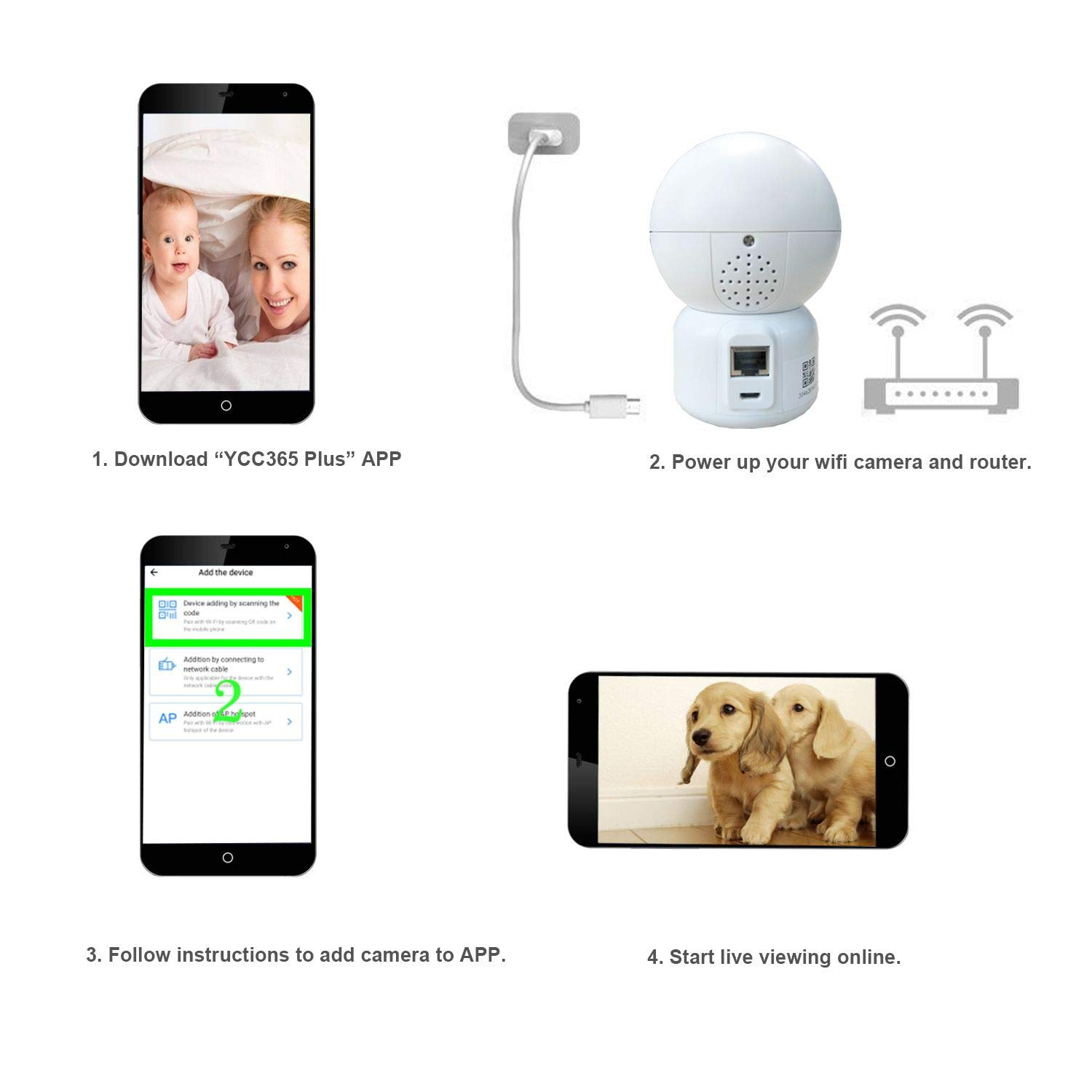 WiFi Dog IP Camera 1080P, JZTEK Smart Wireless Cam Pan/Tilt/Zoom with Cloud Service 3D Image Touch Navigation Panoramic View Night Vision, Two-Way Audio, Motion Detection for Elder,Baby,Pet by JZTEK (Image #7)