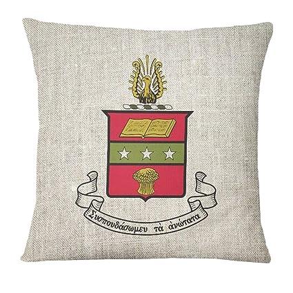 Amazon com: Alpha Chi Omega Linen Crest - Shield Pillow Grey: Home