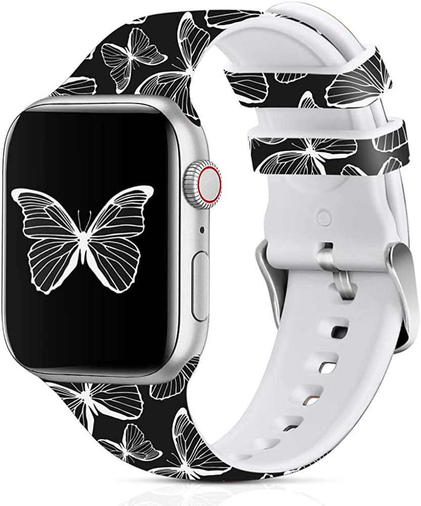 Lwsengme Compatible with Apple Watch Band 38mm 40mm 42mm 44mm, Soft Silicone Replacment Sport Bands Compatible with iWatch Series 5,Series 4,Series 3,Series 2,Series 1,SE
