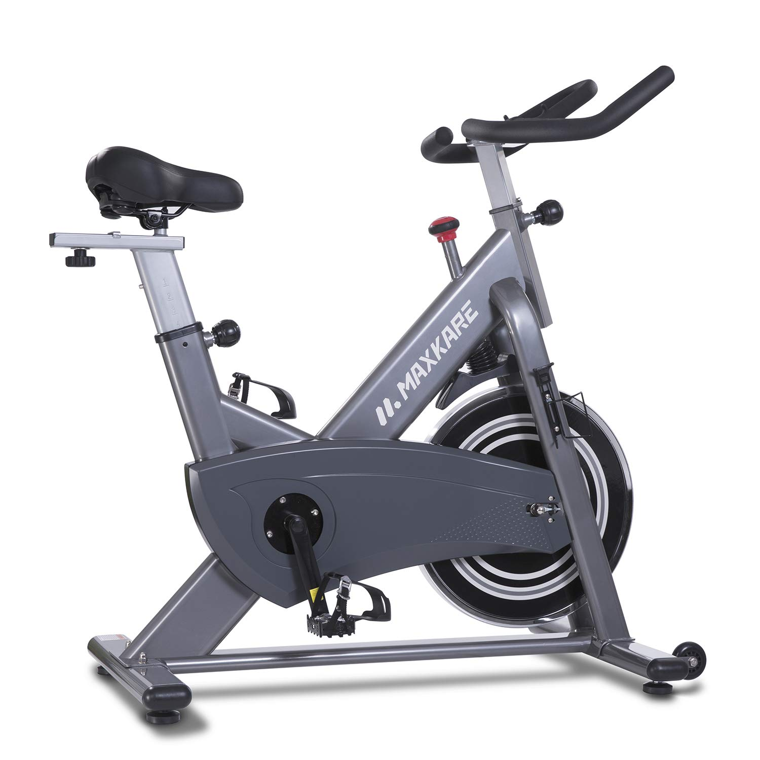MaxKare Magnetic Exercise Bikes Stationary Belt Drive Indoor Cycling Bike Gym Level with High Weight Capacity Adjustable Magnetic Resistance w/Tablet Holder (Gray (No Pulse Sensors))