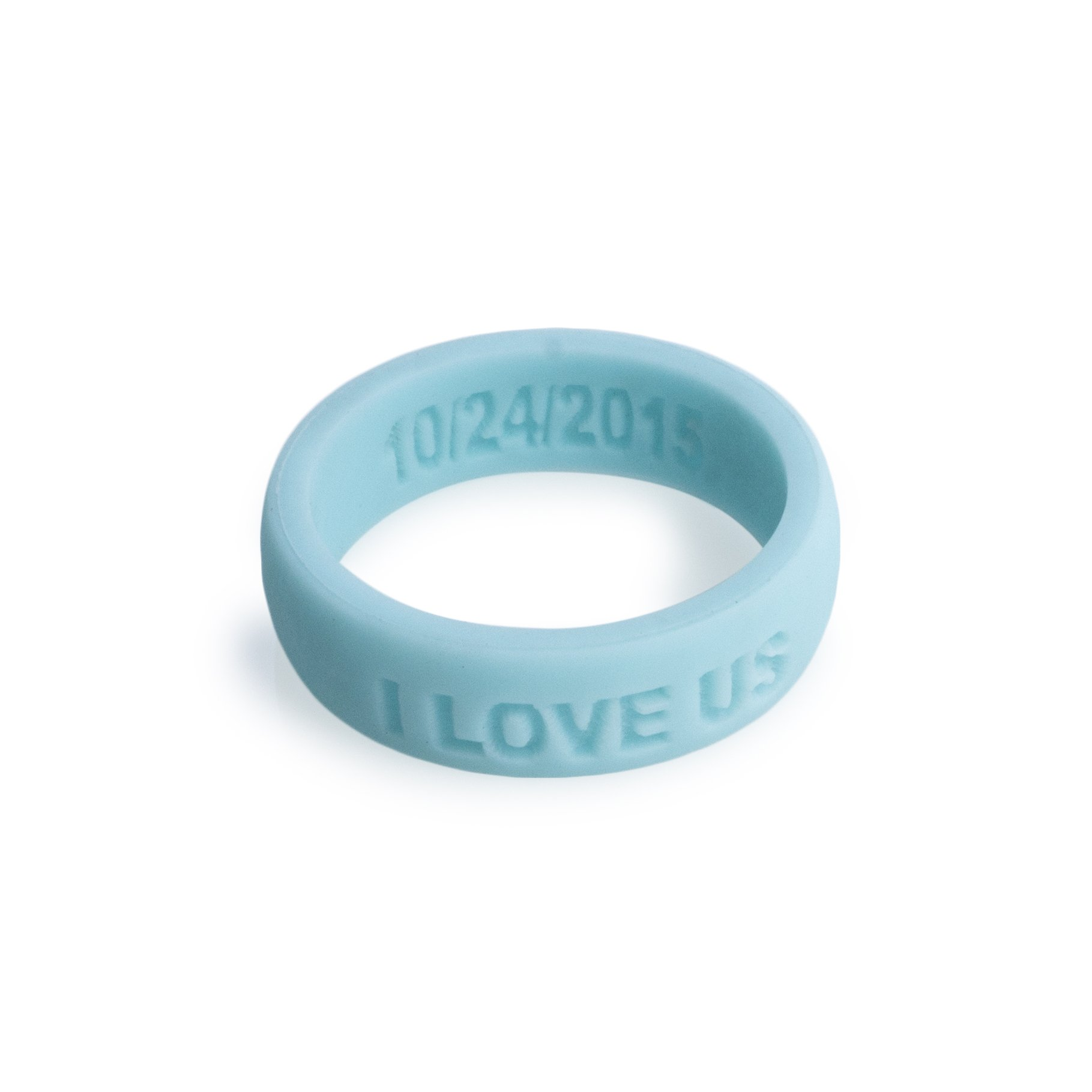 Aroband Silicone Ring Premium Personalized Custom Silicone Wedding Rings for Woman (Baby Blue, 6)