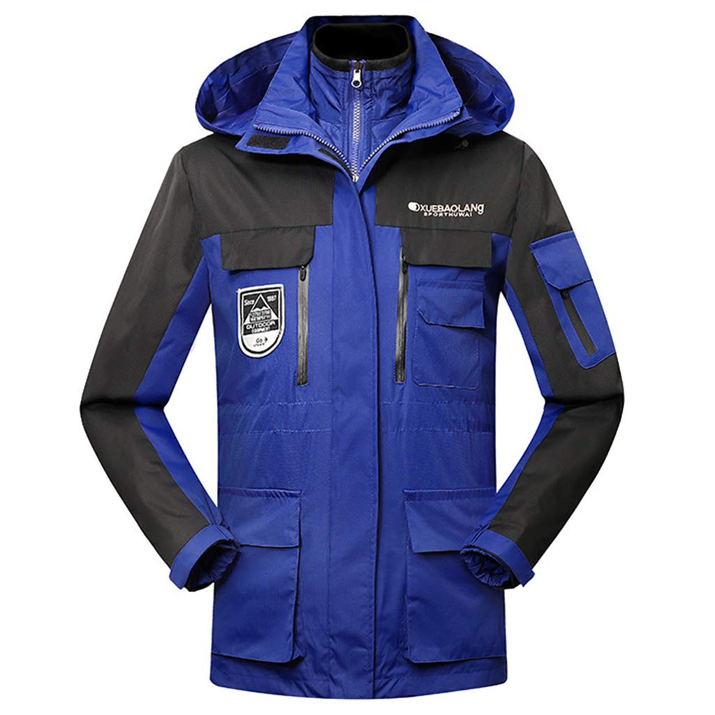 Yujingc Herren Winter Warmer Outdoor Zweiteilige Water-Resistant Fleece-Jacke im Freien Ski Eislaufen Hoodie Mittellang Lang abnehmbare Kappe 3 in 1 Jacke
