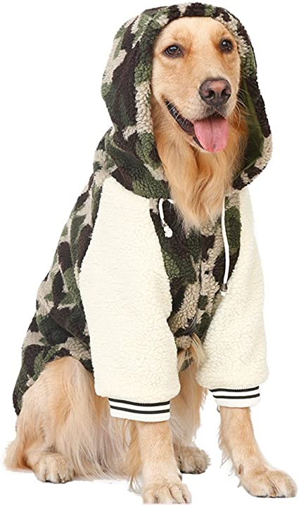 TALLA 4XL. Disfraz de cachemira para mascotas de Kuuboo, de estilo dorado para perros grandes como labrador o collie, perfecto para otoño e invierno