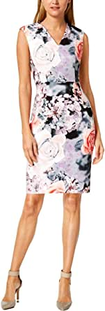 Calvin Klein Women's Sleeveless Printed Sheath with V Neckline Dress