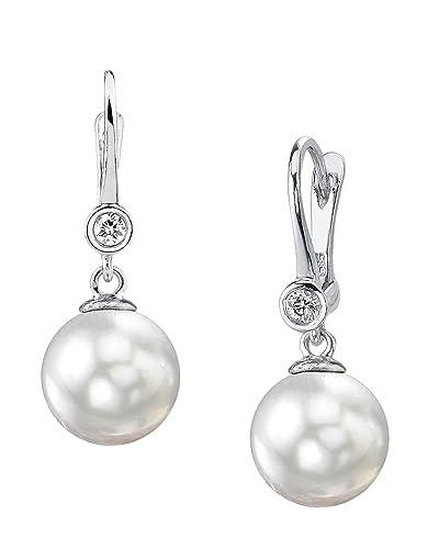 7.5-8.0mm White Akoya Cultured Pearl & Diamond Dangling Diamond Pendant in 14K Gold pElH1f