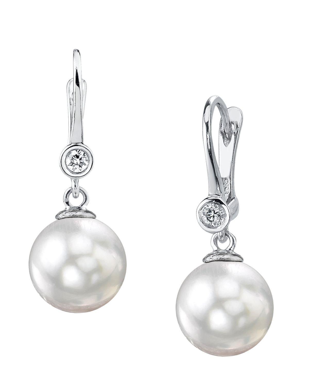 14K Gold 7.5-8.0mm White Akoya Cultured Pearl & Diamond Michelle Earrings