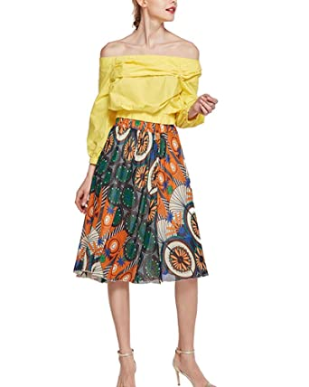 Mengmiao Falda Plisada Estampada Floral Cintura Alta Vintage para ...