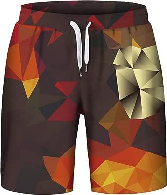 Aieoe 3D Geometry Print Casual Flat Front Shorts Summer Casual Short Pants for Teen Boys L