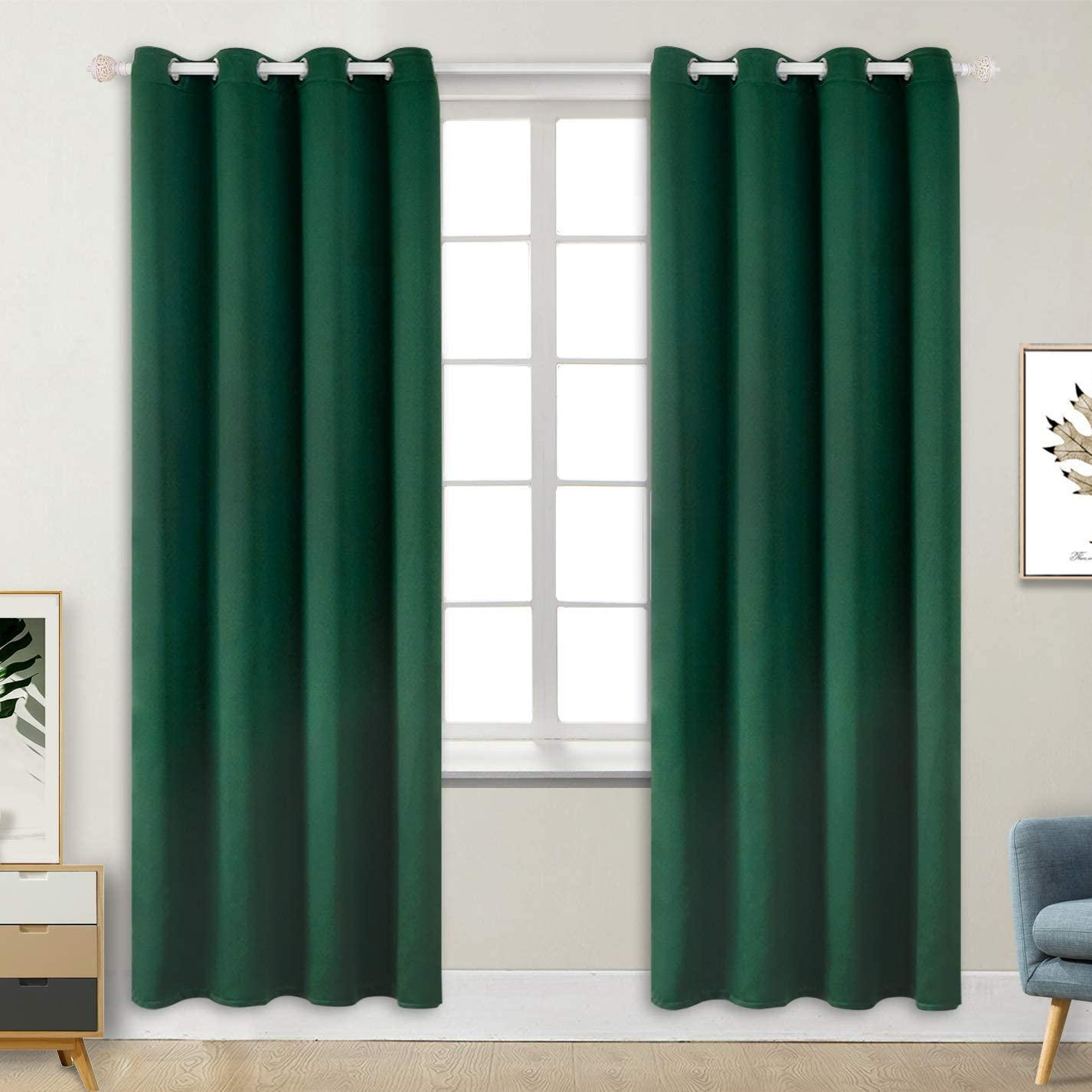 BGment Blackout Curtains - Grommet Thermal Insulated Room Darkening Bedroom and Living Room Curtains, Set of 2 Decorative Curtain Panels (52 x 84 Inch, Emerald Green)