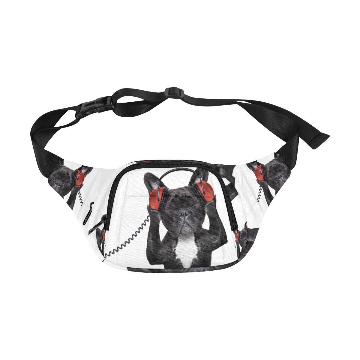 Happy Animal Dog Enjoy Music Fenny Packs Waist Bags Adjustable Belt Waterproof Nylon Travel Running Sport Vacation Party For Men Women Boys Girls Kids