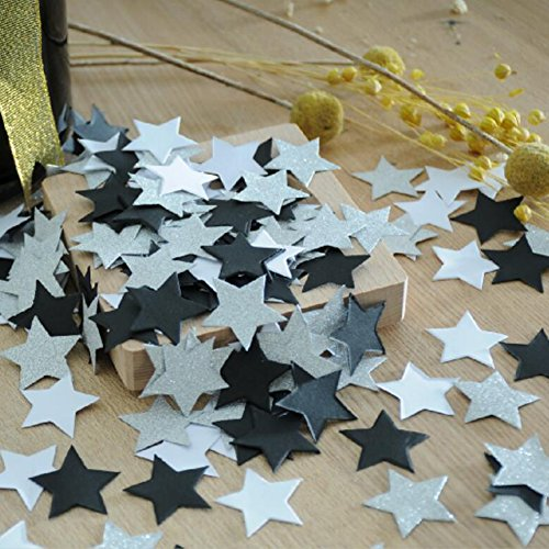 Glitter Paper Twinkle Little Star Confetti Wedding Birthday Theme Party Table Decoration Glitter Silver, Black and White, 1.2 inch, - Photo In Heart Online Cut Shape