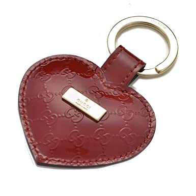 f65a4ab48ae Gucci Heart Red Patent Leather Microgussissima Leather Keychain Key Ring