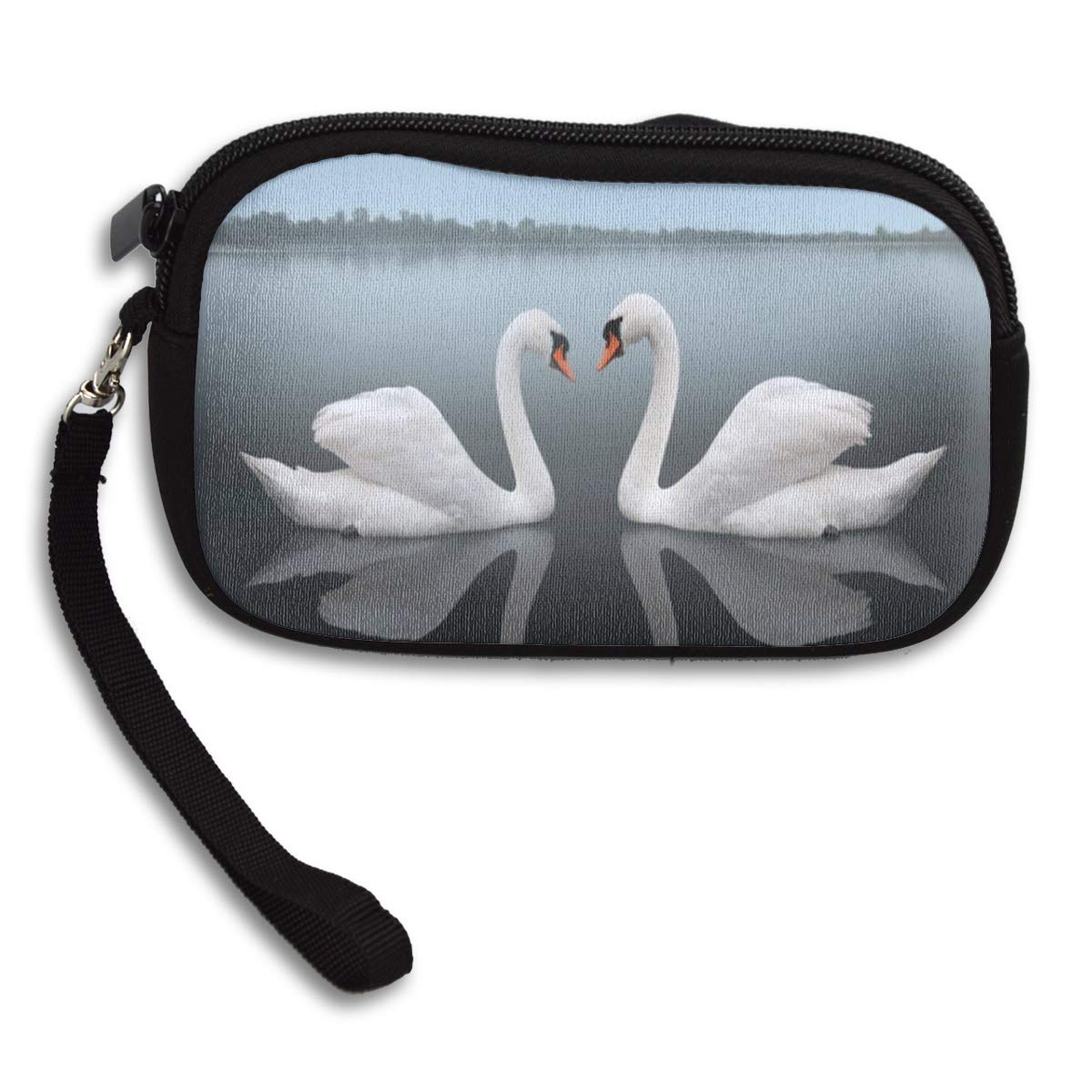 Coin Purse Meeting Mist Pair Lake Swans Men Zip Wallets Change Hot Holder