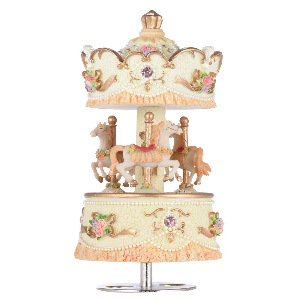 Andoer® Laxury Windup 3-horse Carousel Music Box Artware/Gift Melody Castle in the Sky Pink/Purple/Blue/Gold Shade for Option HGU-006
