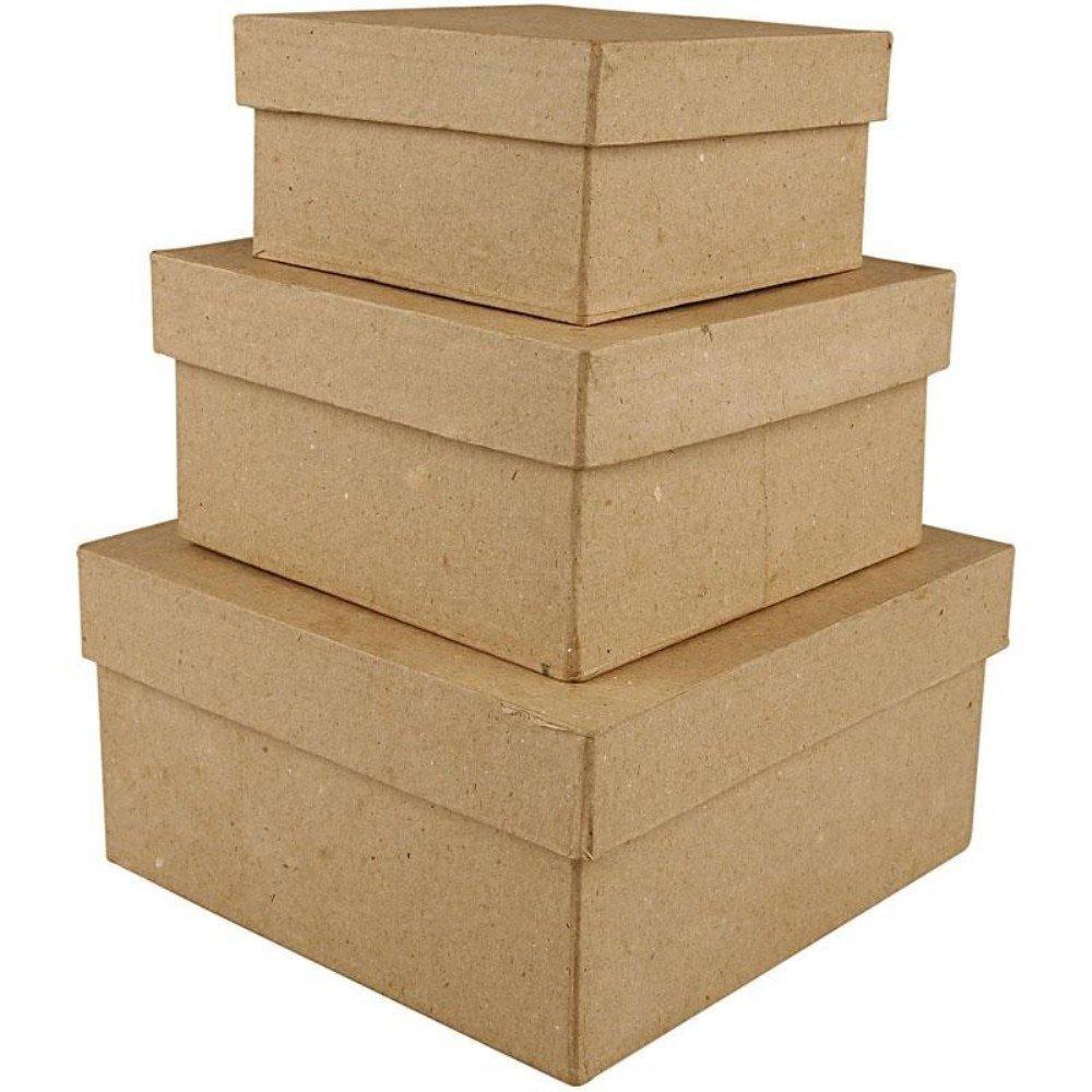3 Paper Mache Square Stacking Boxes - Largest 15x15x7.5cm | Papier Mache Boxes Crafty Capers